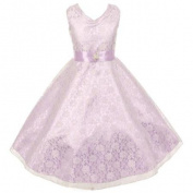 Girls Lavender Lace Overlay Satin Brooch Sash Special Occasion Dress 10