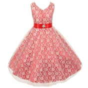 Little Girls Red Lace Overlay Satin Brooch Sash Special Occasion Dress 4