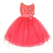 Girls Coral Organza Sequin Sparkle Tulle Special Occasion Dress 14