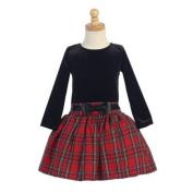 Lito Red Velvet Bodice Plaid Skirt Girls Christmas Dress 8