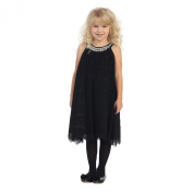 Angels Garment Girls Black Lace Overlay Crystal Adorned Party Dress 8