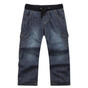 Richie House Little Boys Blue Multi Pockets Casual Denim Pants 3/4
