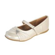 Lito Ivory Rhinestone Heart Toddler Girls Flat Dress Shoes 6