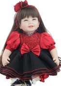 Npkdoll Lovely Toy Doll Soft Silicone Vinyl 22inch 55cm Lifelike Cute Boy Girl Toy Red Black Dress Heart