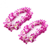 Purple Hawaiian Ruffled Simulated Silk Flower Luau Leis Necklace Accessories for Island Beach Theme Party Costumes, 2 Count