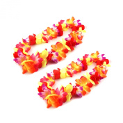 Colourful Hawaiian Ruffled Simulated Silk Flower Luau Leis Necklace Accessories for Island Beach Theme Party Costumes, 2 Count