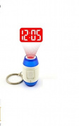 Mini LED Keychain Laser Digital Time Clocks Light Projection Alarm Clock