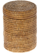 KOUBOO La Jolla Round Rattan Container with Plastic Insert and Twist-Off Lid, Large, Honey-Brown