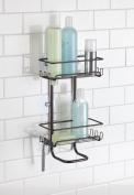 mDesign Suction Bathroom Shower Caddy Shelves for Shampoo, Conditioner, Soap - Bronze