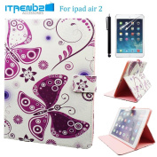 iPad Air 2 Case, Itrendz [Cute Smart Case] Purple Butterfly PU Leather Flip Case [Magnetic Closure] Stand Smart Cover [Auto Sleep Wake] For Apple iPad Air 2 [FREE SCREEN PROTECTOR & STYLUS]