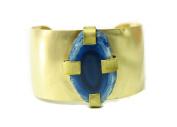 Handmade Blue Agate Geode Slice Brass Wide Cuff Bracelet Auralee & Co.