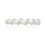 JanKuo Jewellery Rhodium Plated Simulated Pearls with Pave Cubic Zirconia Bangle Bracelet, 19cm