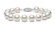 14k White Gold AAA Quality White Freshwater Cultured Pearl Bracelet (6.5-7mm), 7""
