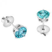 Platinum Plated .925 Sterling Silver 2 cttw Mint Round-brilliant_shape Cubic Zirconia Solitaire Earrings Made with. Zirconia