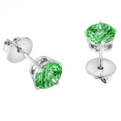 Platinum Plated .925 Sterling Silver 2 cttw Fancy Green Round-brilliant_shape Cubic Zirconia Solitaire Earrings Made with. Zirconia