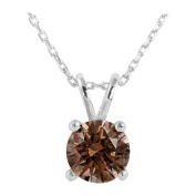 Platinum Plated .925 Sterling Silver 2 cttw Fancy Brown Round-Brilliant_Shape Cubic Zirconia Solitaire Necklace Made With. Zirconia, 46cm