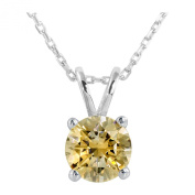 Platinum Plated .925 Sterling Silver 2 cttw Fancy Yellow Round-Brilliant_Shape Cubic Zirconia Solitaire Necklace Made With. Zirconia, 46cm