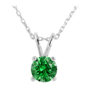Platinum Plated .925 Sterling Silver 1 cttw Fancy Green Round-Brillant_Shape Cubic Zirconia Solitaire Necklace Made With. Zirconia, 46cm