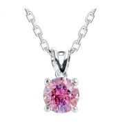 Platinum Plated .925 Sterling Silver 1 cttw Fancy Pink Round-Brillant_Shape Cubic Zirconia Solitaire Necklace Made With. Zirconia, 46cm
