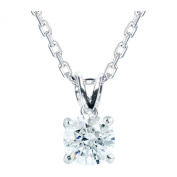 Platinum Plated .925 Sterling Silver 1 cttw White Round-Brilliant_Shape Cubic Zirconia Solitaire Necklace Made With. Zirconia, 46cm