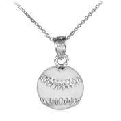 10k White Gold Baseball/Softball Sports Charm Pendant Necklace