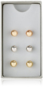 Silver, Yellow, and Rose-Tone Ball Stud Earrings Three-Piece Set