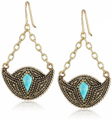 "Barse ""Village"" Genuine Turquoise Bronze Crescent Drop Earrings"