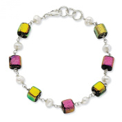 Sterling Silver Pink and Yellow Dichroic Glass with Freshwater Cultured Pearls Bracelet - 22cm