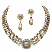 Elegant 3 Strand Bronze Brown Pearl on Gold Tone Drop Bridal Necklace Earring Set W6