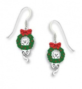 Sienna Sky Holiday Christmas Hang in There Cat Wreath Earrings 1570