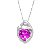 4 1/2 ct Pink Sapphire Mother and Child Pendant Necklace in Sterling Silver