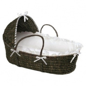 Moses Hooded Basket in White and Espresso Portable Baby Basket