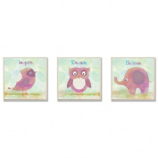The Kids Room by Stupell 3 Piece Inspire/Dream and Believe Wall Plaque Set, Bird/Owl/Elephant