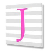 "Canvas Letter ""J"" Print Pink Monogram Letters Nursery Wall Art VWAQ-160J"