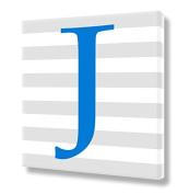 "Canvas Letter ""J"" Alphabet Print Blue Capital Letter Monogram Nursery Wall Art VWAQ-159J"