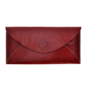 ZLYC Women Handmade Fashion Envelope Design Vegetable Tanned Leather Wallet Clutch