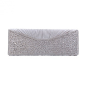 Elegant Pleated Satin Floral Crystal Flap Clutch Evening Bag - Diff Colours Avail