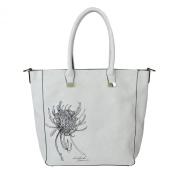 MG Collection KIKU White Bucket Tote w/ Chrysanthemum Design by Hidetoshi Yamada