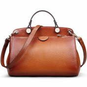 AB Earth Women Genuine Leather Handbag Top-handle Tote Cross Body Shoulder Messenger Bag, M803Brown