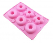 Blovess 6 Cavity Silicone Donut Pan Tray with Heart and Star Mould, Doughnut Maker, DIY Baking Tool Biscuit Cookie Cake Chocolate Mould