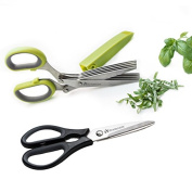 Heavy Duty Kitchen Shears with Bonus 5 Blade Herb Scissors and Cleaning Cover - Shear GeniusTM Scissor Set Features Stainless Steel Blades, an Ergonomic Design and Soft Grip Rubber Handles