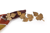 Manor Luxe Autumn Leaf Brass Metal Fall Napkin Rings