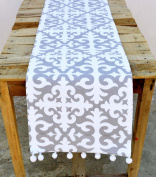Christmas Runner Moroccan Print Grey and White Cotton Table Runner Bohemian Size Available