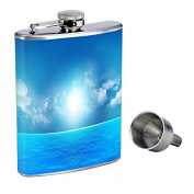 Ocean Views Perfection In Style 240ml Stainless Steel Whiskey Flask with Free Funnel D-003