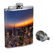 Perfection In Style 240ml Stainless Steel Whiskey Flask with Free Funnel New York Design-001