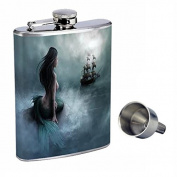 Mermaid Perfection In Style 240ml Stainless Steel Whiskey Flask with Free Funnel D-003