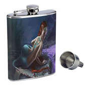 Mermaid Perfection In Style 240ml Stainless Steel Whiskey Flask with Free Funnel D-005