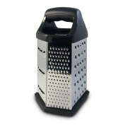 Cheese, Vegetable & Food Grater, 6 Sided Box-Hex, Stainless Steel, Shredder, Zester, Recipe Ebook