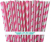 Outside the Box Papers Pink Stripe, Chevron and Polka Dot Paper Straw Combo-20cm -75 Pack, Pink, White