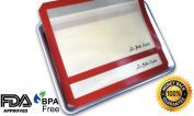 La Belle Chalet - Premium Professional Grade, Silicon Baking Mat (2-pack) Non-stick, Tan, Burgundy